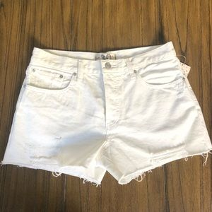 We The Free High rise white distressed shorts